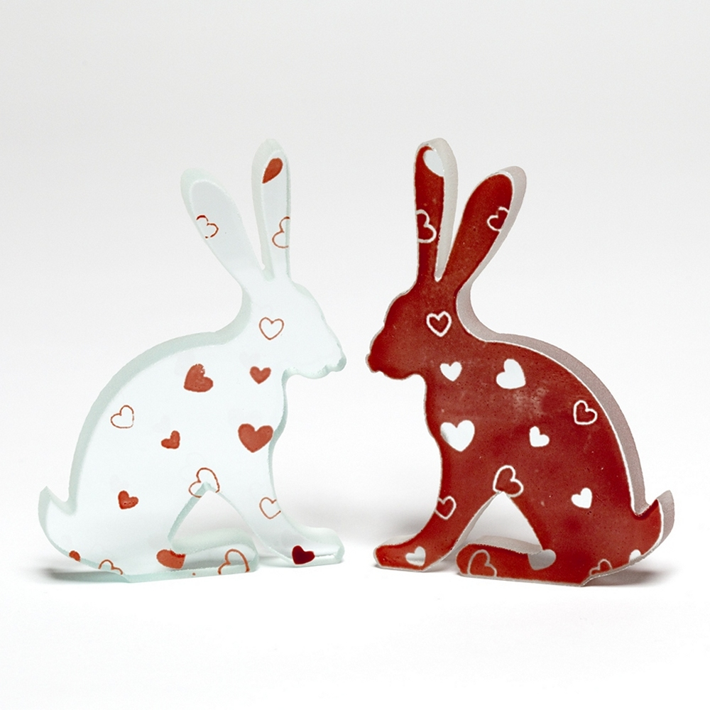 Love Heart Glass Hare Pair Sculpture