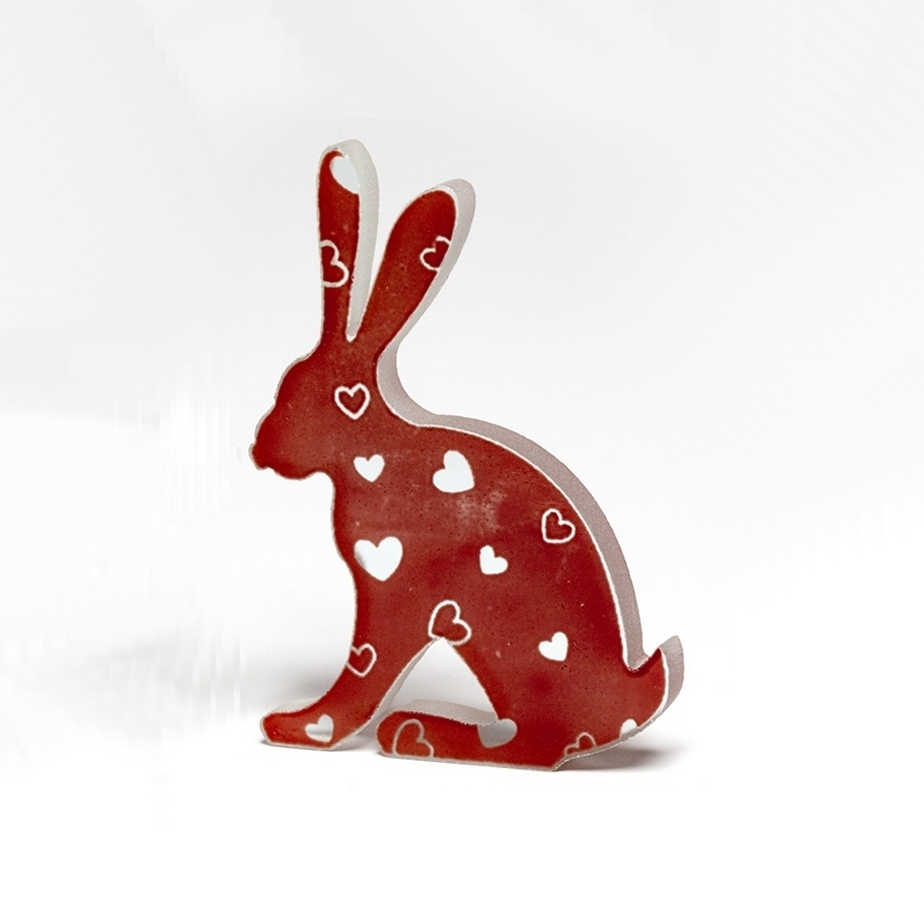 Valentine Heart Glass Hare Sculpture